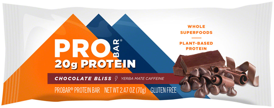 probar protein bar chocolate bliss with 55mg of caffeine